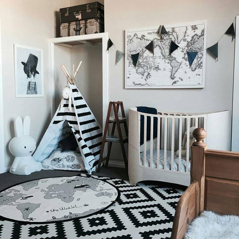 pokój dla dziecka czarno biały