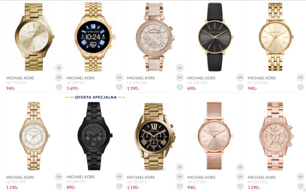 złoty zegarek w stylizacjach