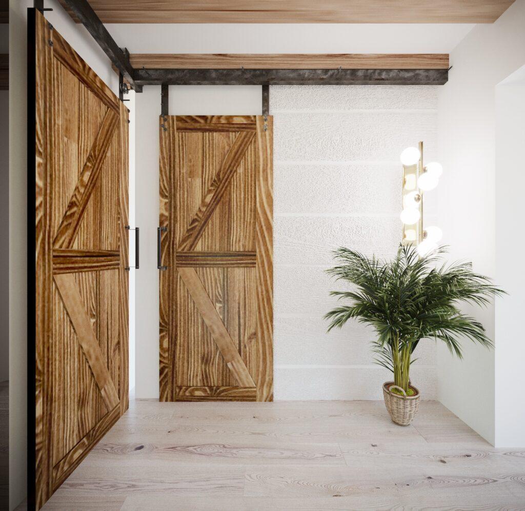 arnażacja z drzwiami barn door
