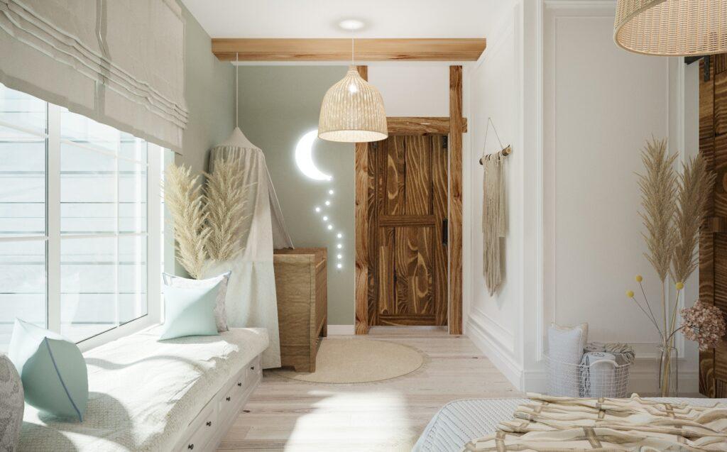 drzwi barn door w sypialni