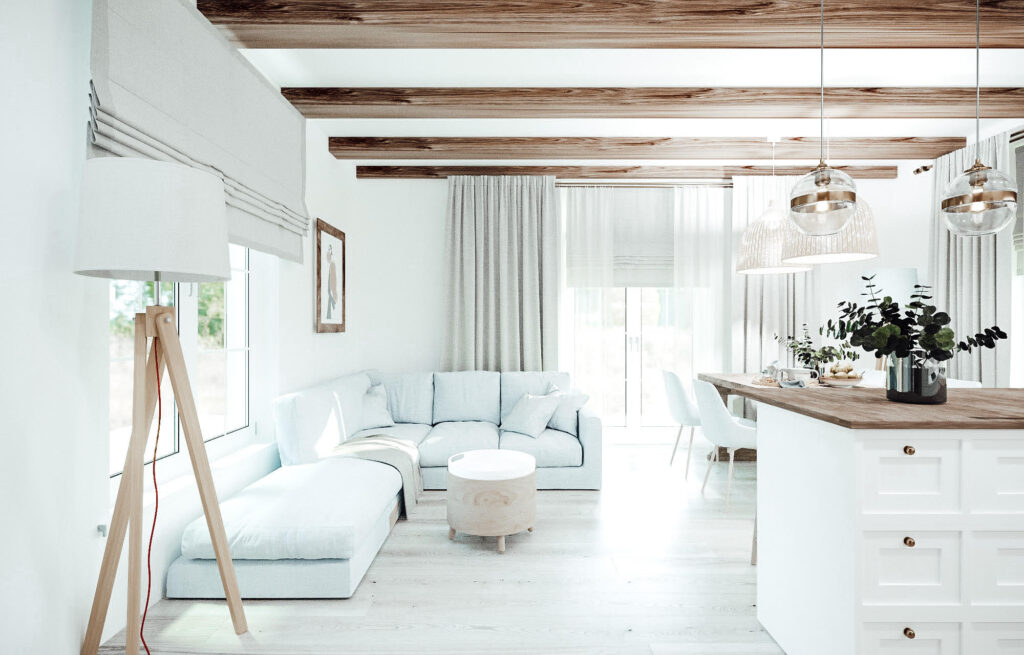 metamorfoza salonu w starym drewnianym domu