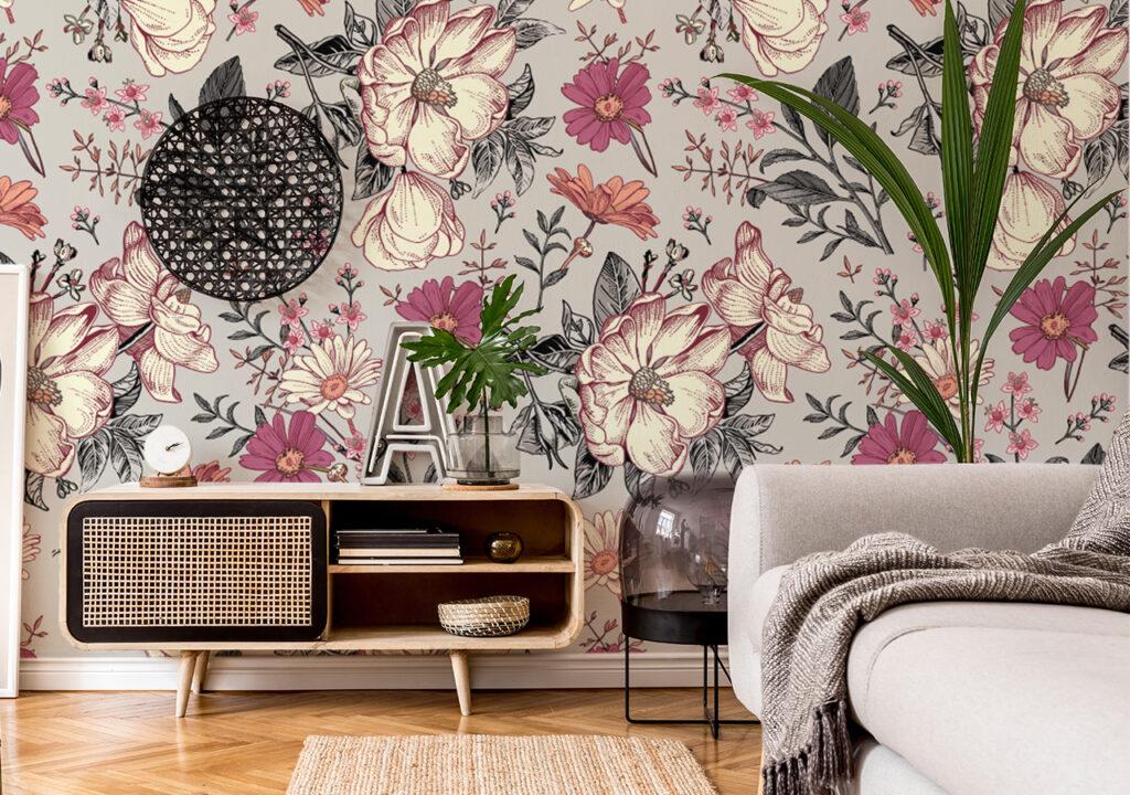 Fototapeta kwiaty w salonie