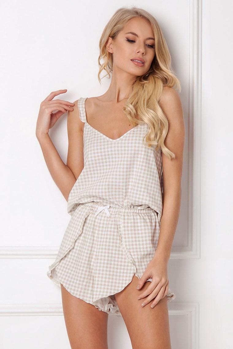 beżowa piżama z falbankami
