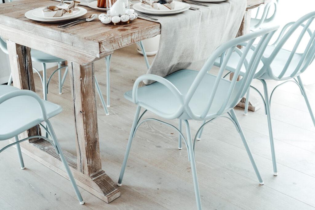 krzesła do jadalni błękitne baby blue